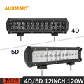 AUXMART 12 120w Led Light Bar straight 4D 5D Offroad combo beam auto light trailer Truck