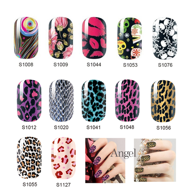 2016 y leopard flowers full cover nail sticker decoration sheet mixed hot designs 6pcs diy home nail art - Hot Designs Nail Art Ideas
