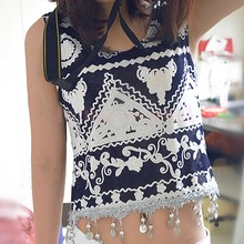 New 2015 Retro Vintage Style Geometric Printed Tank Top Women Summer Fashion Sliver Ornaments Tassel Crop Top 36(China (Mainland))