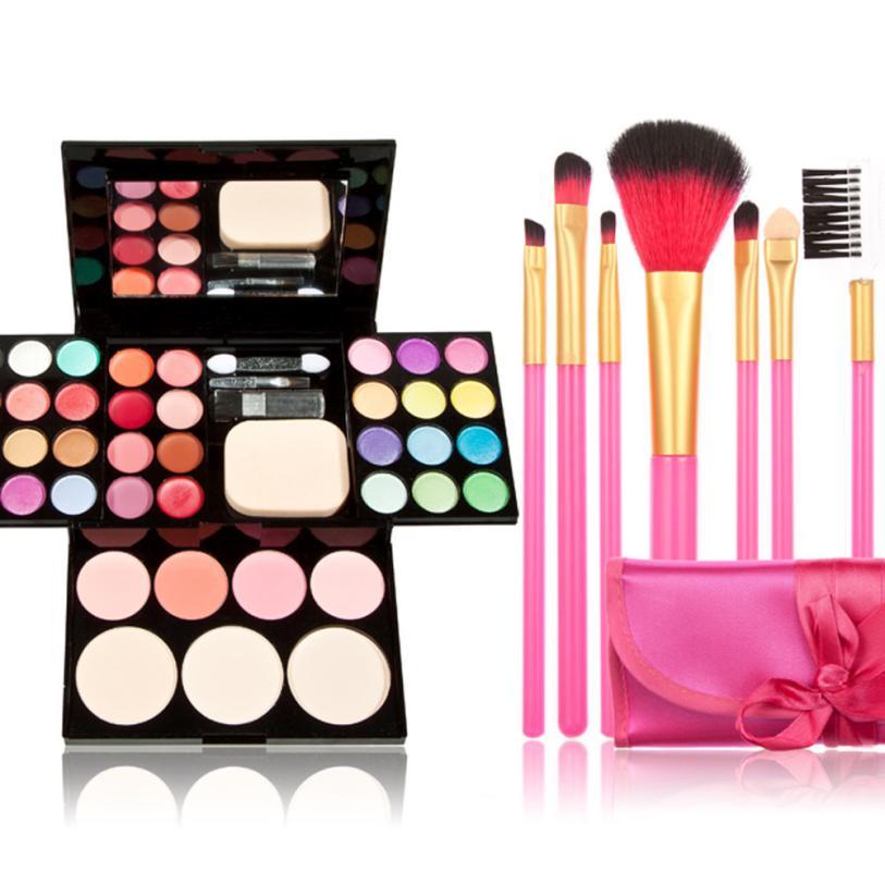 Newly Design Makeup Kit Palette Eyeshadow Lip Gloss Foundation Blusher Powder Brush Set Gift 160411(China (Mainland))