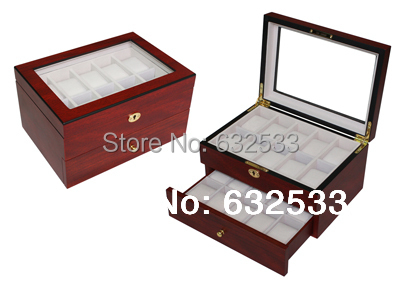 35*22*19 wood watch box storage box 20 high end watch case with drawers for wedding MDF stuff -plum wooden watch box(China (Mainland))