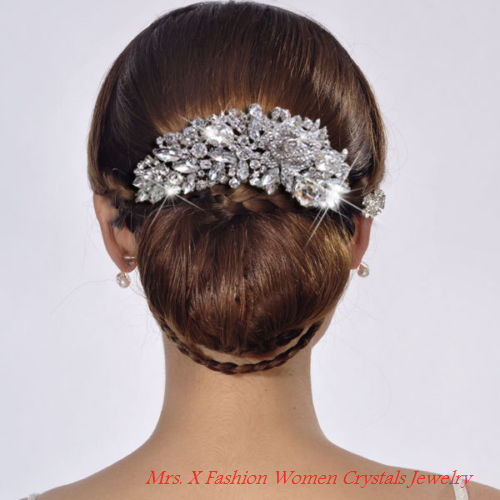 Mrs. X Sale Dazzling Wedding Flower Hair Comb H Jewelry Clear Austrian Crystals Headpiece Hair Accessories for Bridesmaid FS0054(China (Mainland))
