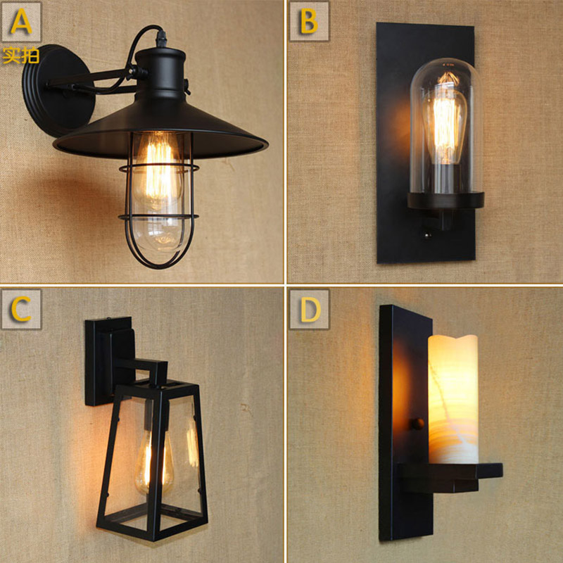 Wheelhouse Wall Lamp Dark Antique : Antique Matte Black Lantern Outdoor Wall lamp Sconce AC 90 260v metal Vintage Industrial Loft ...