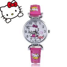 2016 Hello Kitty Cartoon Watches Kid Girls leather Straps Wristwatch children hellokitty Quartz watch montre enfant