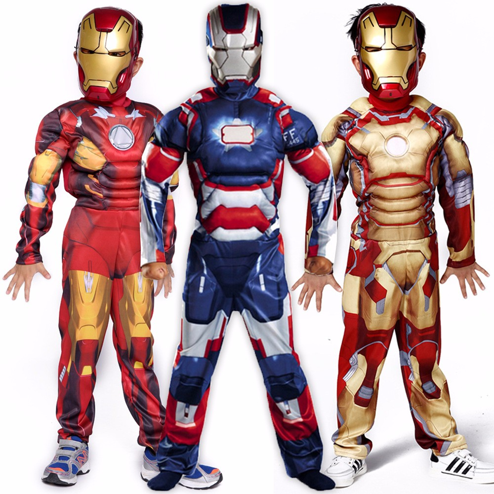 Genuine Kids Avengers Iron Man Mark Muscle Child Halloween Costume Boys Marvel Movie Superhero Cosplay Clothing free shipping