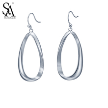 Buy SA SILVERAGE Fashion Authentic 925 Sterling Silver Classic Hoop Drop Dangle Earrings for Women Girl Bijoux Gift for $44.98 in AliExpress store