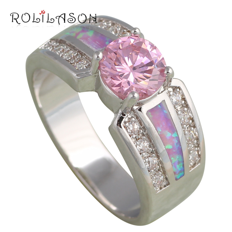 Aliexpress Buy Wedding rings for women Pink Fire Opal Silver Stamped Pi