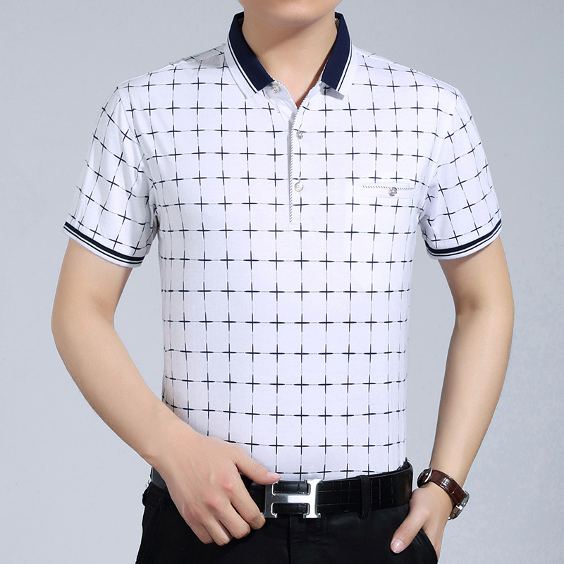 New 2016 Men's Brand Plaid Polo Shirt For Men Designer Polos Men Short Sleeve shirt sports jerseys golf tennis Plus Size XXXL(China (Mainland))