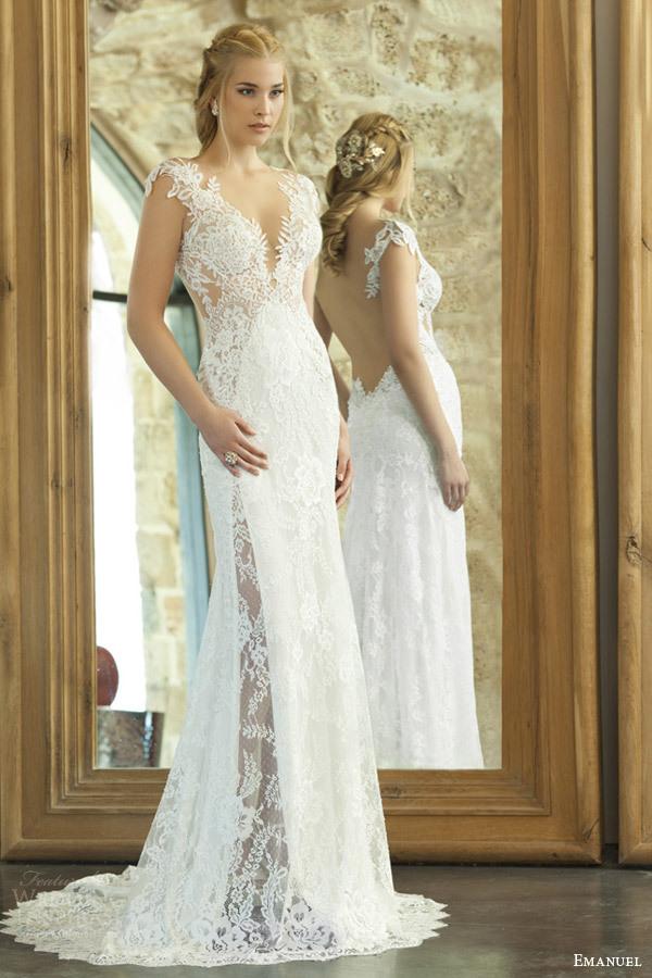 V neck lace beach wedding dress
