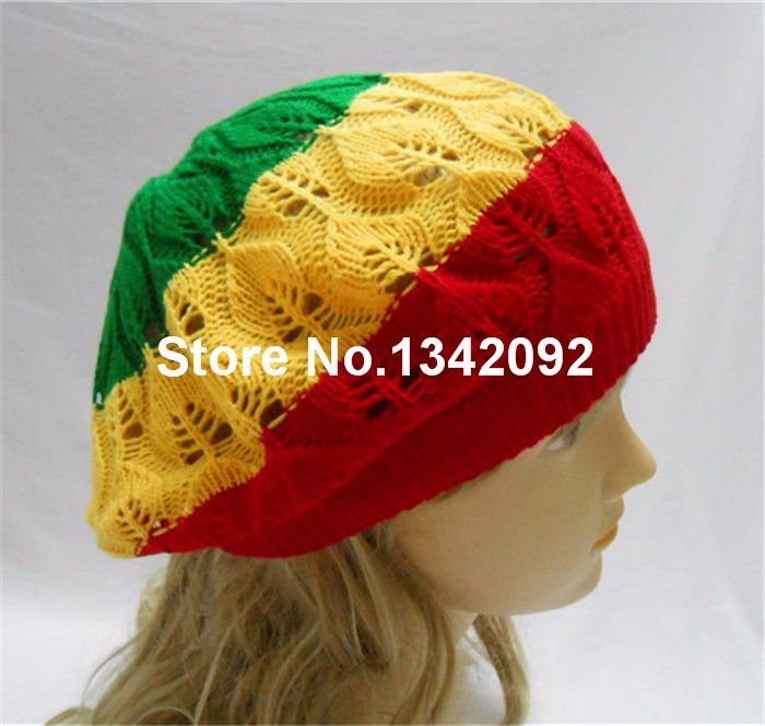 2018 Wholesale Rasta Tam Beret Hat Crochet Knit Reggae Marley