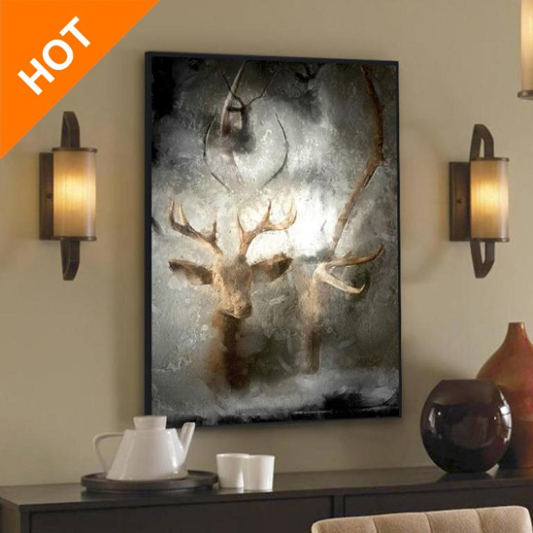 Modern Abstract Wall Paintings Deer Artist Canvas Prints Unframed Oil Painting On Canvas Wall Art Top Home Decoration QH0035(China (Mainland))