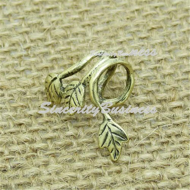 Leaves Earring Jackets Puck Rock Style Earring with Antique Brass for Left Ear(1 Piece)(China (Mainland))