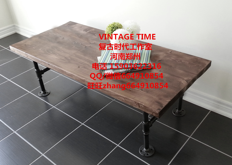 Loft Vintage Industrial Ancient Pipe Tea Coffee Table Wood Desk Country Furniture(China (Mainland))