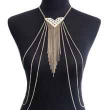 Fashion Geometric Triangle Metal Pendant Gold Tassel Body Chain Necklace For Sexy Women Bikini Underwear Body Jewelry 0707(China (Mainland))
