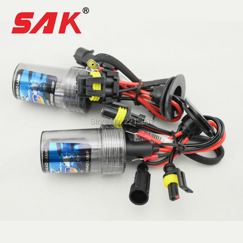 SAK brand 2pcs ac 35w xenon hid bulb headlight lamp auto car H1 6000K factory sale wholesale and retail(China (Mainland))