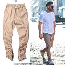 khaki jogger Pants Casual Skinny Zipper bottoM Sweatpants Solid Hip Hop Trousers Jogging Pants Men Joggers Slimming pants(China (Mainland))