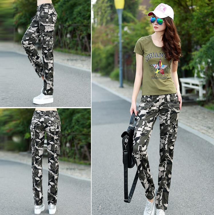 2015 womens Outdoor sport jogger camouflage jeans trousers Laides multi pocket army fatigue cargo harem pants Straight overalls(China (Mainland))