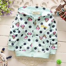 New 2016 hot sale fashion minnie cartoon long sleeve hooded cotton kids baby girls children hoodies sweatshirts sweaters(China (Mainland))