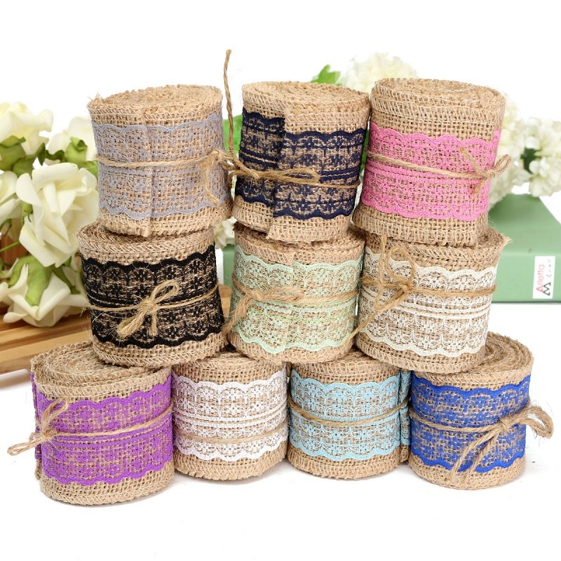Гаджет  2M DIY Cotton Lace Ribbon Sewing Tape Natural Jute Hessian Roll Burlap Trims Tape Rustic Wedding Party Decor Craft None Дом и Сад