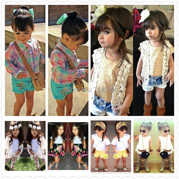 2015 summer Girls Clothing Sets new Girl Casual Set kids girls short-sleeved T-Shirt+Pant 2-Pieces clothing - Baby & Kids Clothes store