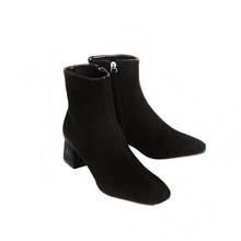 Echtes leder zipper karree high heels frauen stiefeletten nachtclub mode stiefel party urlaub elegante winter schuhe L66(China)