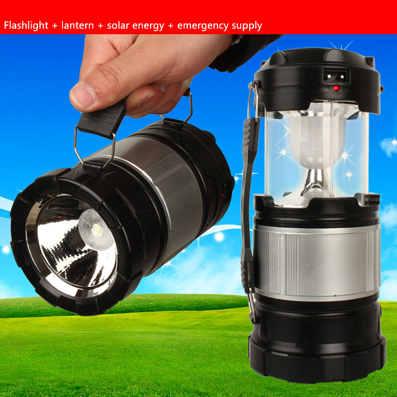Multifunctional stretching flashlight lantern LED light Large flashlight searchlight solar energy charge Mobile phone emergency(China (Mainland))