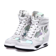 Womens High Top Lace Up Platform Wedge Ankle Boots Hight Increasing Sport Fashion Shoes