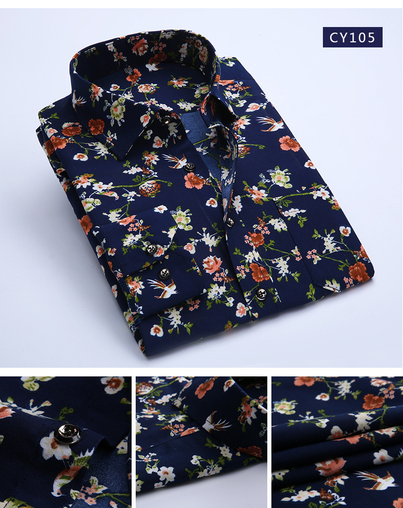 2019 Wholesale 2017 Spring Floral Print Men Shirts Long Sleeve Mens