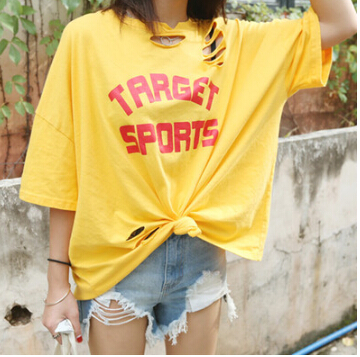 Harajuku style letters printed loose short-sleeved T-shirt women ulzzang hole Korea Institute of wind T-shirt tide shipping(China (Mainland))