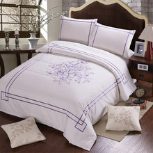 100% Cotton White With Purple Floral Embroidered 4 pieces bedding sets  High quality Export European Workmanship is fine(China (Mainland))