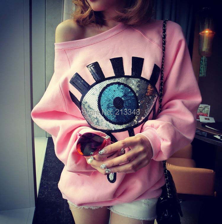 2015 new fashion hot style shoulder cut sequin eyes pullover sweatshirts hoodie AF0625 - ANYFASH store