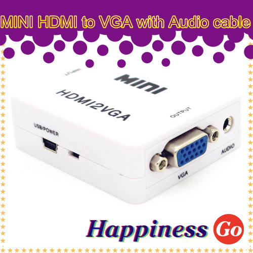 Mini hdmi to vga audio converter video connector cable adapter free shipping(China (Mainland))