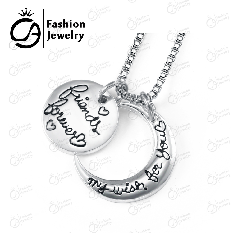 OLA Fashion Friends Forever My Wish For You Silver Pendant Necklace Women Girls Christmas Gift Box Chain Necklace Jewelry LN914(China (Mainland))