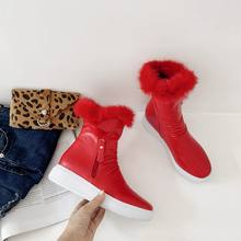 EGONERY ngoài trời Ủng người phụ nữ phẳng Giày đế thả vận chuyển siêu ấm sang trọng mùa đông Trắng đen đỏ mũi tròn mắt cá chân giày(China)