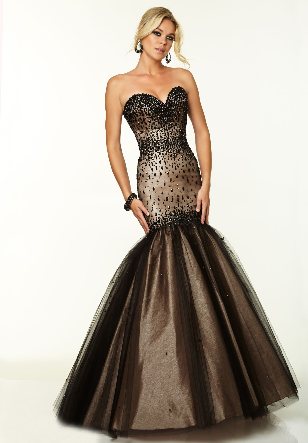 New Strapless Beaded Bodice Black Mermaid Prom Dress-in ...