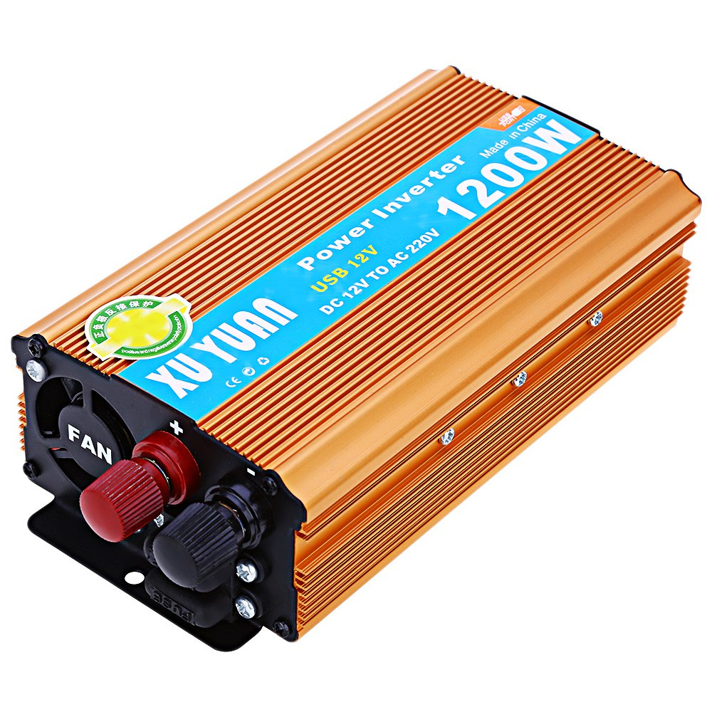 1200W DC 12V to AC 220V Car Power Inverter with USB Charging Port with LED Display Shows DC and AC Voltage Aluminum Alloy Case(China (Mainland))