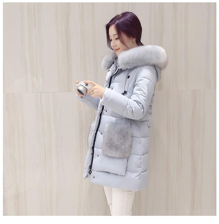 Скидки на 2016 Люкс Зима Женщины Вниз Пальто Куртки Теплый Женщины Вниз Куртка Меховой Воротник Лиса Одежда