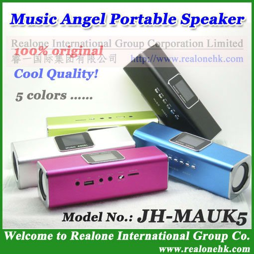HOT portable mini speaker MUSIC ANGEL 100% original cool quality+USB speaker read TF with FM radio with LCD screen(China (Mainland))