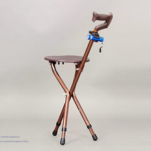 1x Adjustable Folding Walking Cane Chair Stool Tripod Massage Walking Stick with LED Light Portable Fishing