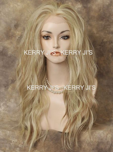 New 25inch LACE FRONT WIG Heat Safe Pale Blonde Mix Long Wavy free shipping