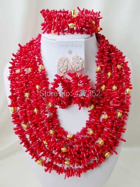 Lovely! Strand Costume Red Coral Beads Necklaces Nigerian Wedding African Beads Jewelry Set TC211<br><br>Aliexpress