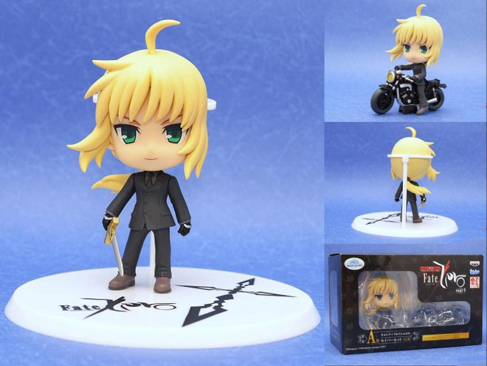 Saber Lily  Anime Black Action Figure Model Q version of the motorcycle Collection Toys