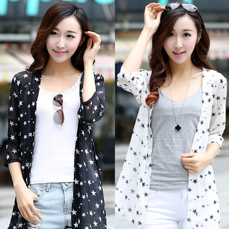 Free Shipping New Women's Fashion Summer Chiffon Cardigan Shirt Sun Protection Clothing Coat Long Cardigan Beach Sunscreen Shirt
