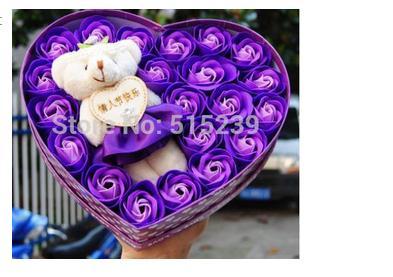 20 rose Romantic Valentine's Day Bouquet soap girls girlfriends creative hua cartoon bear bouquet gift - flower store