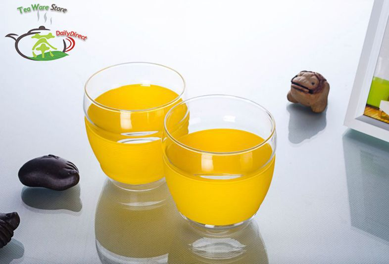 2 Pcs/lot 10fl.oz/300ml Yellow Heat-Resisting Glass Wine Tea Water Crystal Beer Drink Cup Gift Mug - Coffee MUG(China (Mainland))
