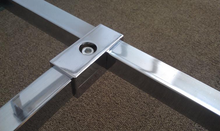 16PCS/LOT 2 way 25 * 25mm square tube clamp pipe chrome aluminum display fittings(China (Mainland))