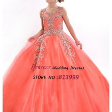 2016 Girls Pageant Dresses For Little Girl Ball Gown Tulle Crystals Beaded Coral Flower Girl Gown AR1107