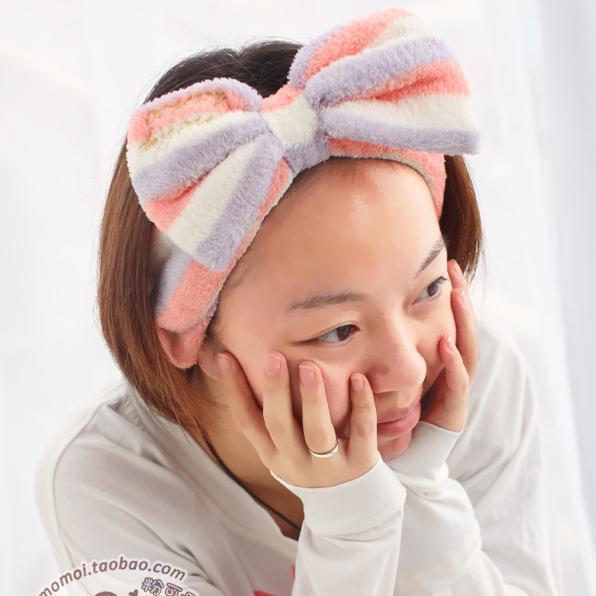 10pcs Coral Fleece Bow Headband Make up Hairband Face Cleaning Headwrap Soft Stretchy Sports Headband Women's' Hair Ornaments(China (Mainland))