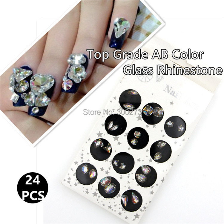 Epacket Free Shipping AAAAA Grade 12 Style AB Color Nail Art Crystal Decoration Laser Rhinestone Nail Tips Accessories(China (Mainland))
