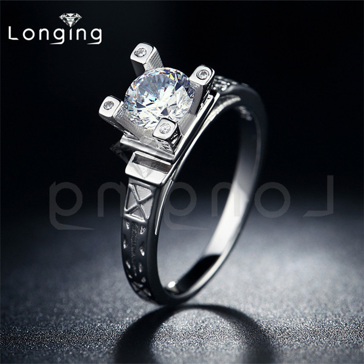 Longing S925 Eiffel tower rings wedding bague for Women White gold filled zirconia vintage luxury vintage Accessories LSR040(China (Mainland))